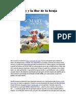Mary y La Flor de La Bruja. Crítica de Cine