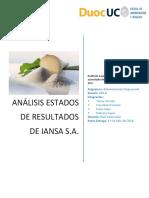 Análisis simple Estados de Resultados Iansa DUOC UC