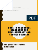 Quality Assurance Standards for Physiotherapy and Service Delivery