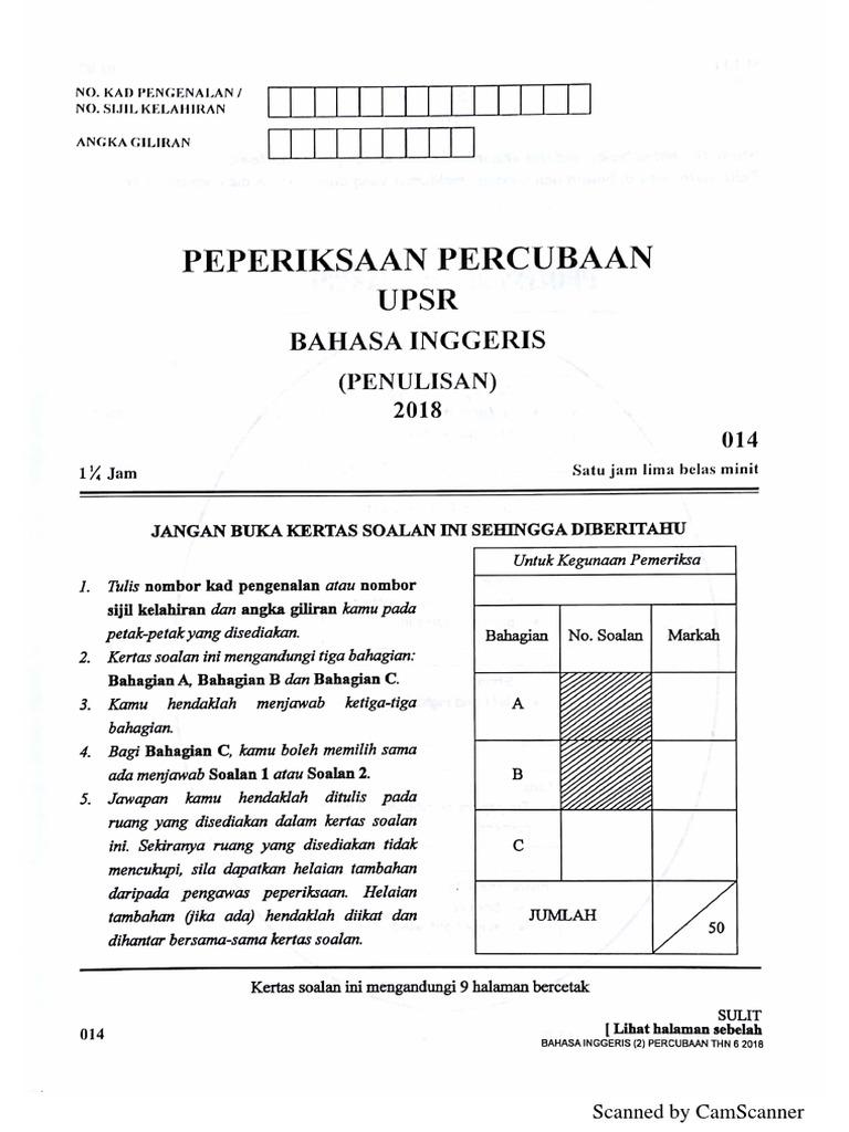 Soalan Percubaan Upsr 2018 Bahasa Inggeris Negeri Kelantan Kertas 1