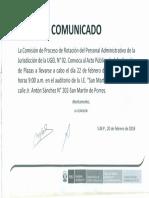 Comunicado 606 - Convocatoria Al Acto Publico de Adjudicacion de Plazas