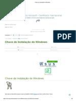Chave de Instalação Do Windows