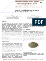 Experimental Study on Partial Replacement of Cement with Nano Silica in the Concrete