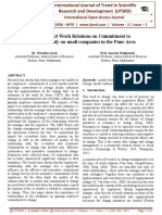 The Effect of Work Relations on Commitment to Change-A study on small companies in the Pune Area