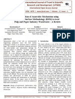 Optimization of Anaerobic Mechanism using Response Surface Methodology (RSM) to treat Pulp and Paper Industry Wastewater