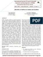 Production and Productivity of Saffron in Jammu and Kashmir