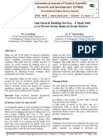 Customer Satisfaction towards Banking Services - A Study with Special Reference to Private Sector Banks in Erode District