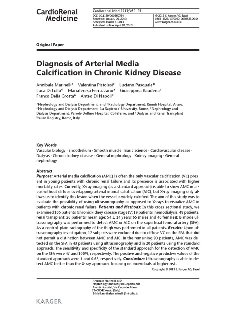 Diagnosis of Arterial Media Calcification in Chronic Kidney