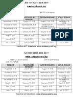 act   sat test dates 2018 2019