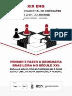 Caderno de programação do XIX Encontro Nacional de Geógrafos (2018)