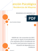 Atención Psicológica en Residencias de Mayores