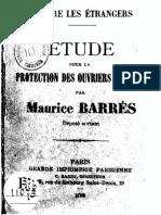 Barrès, Maurice - 1893 Etude pour la protection des ouvriers francais contre les étrangers 1893