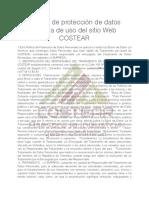 POLITICA DE PROTECCIÓN DE DATOS COSTEAR / POLITICA DE USO DEL SÍTIO