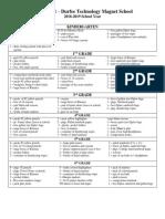 Durfee School supplies list