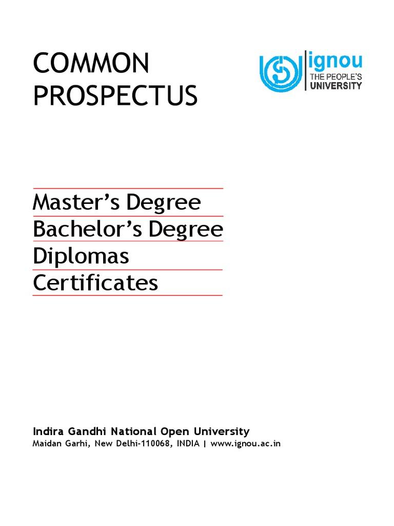 Common Prospectus: Master's Degree Bachelor's Degree