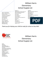 Harris K-6 supplies list