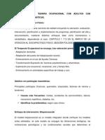 INTERVENCIÓN DE TERAPIA OCUPACIONAL CON ADULTOS CON PATOLOGÍAS TRAUMÁTICAS.