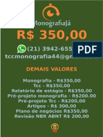 R$ 350,00 POR  TCC OU MONOGRAFIA WHATSAPP (21) 3942-6556   tccmonografia44@gmail.com (89)
