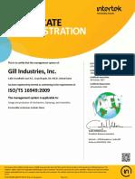 Plainfield TS 16949 Certificate