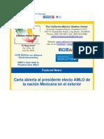 California-Mexico Studies Center - Carta abierta al presidente electo AMLO de la nación Mexicana en el exterior.pdf