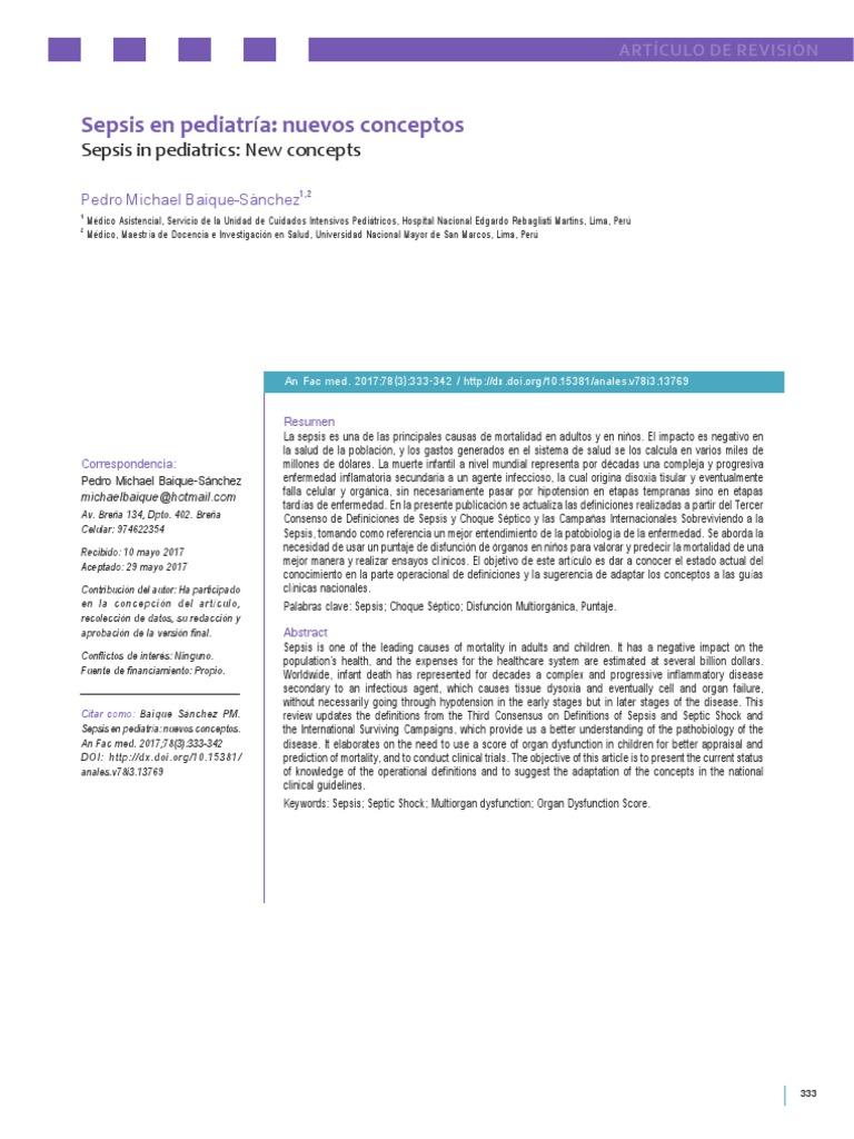 Sepsis en Pediatría Nuevos Conceptos
