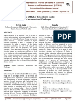 Status of Higher Education in India