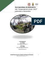 Protocol Nacional de Respuesta Ante 2da Temporada de Lluvias 2013