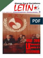 Boletin del Ateneo Paz y Socialismo de agosto de 2018