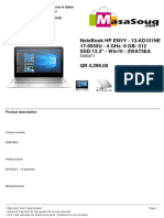 "NOTEBOOK HP ENVY - 13-AD101NE -I7-8550U - 4 GHZ- 8 GB- 512 SSD-13.3"" - WIN10 - 2WA73EA"