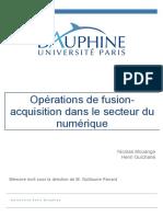Mémoire de fin d'études - Les opérations de M&A au sein du secteur du numérique
