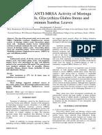 Evaluation of ANTI-MRSA Activity of Moringa Oleifera Seeds, Glycyrrhiza Glabra Stems and Jasminum Sambac Leaves