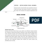 Sistem Dan Jenis Rem Pada Mobil