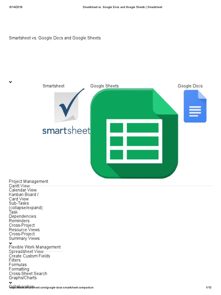 Smartsheet Vs Google Docs And Sheets Smartsheetpdf