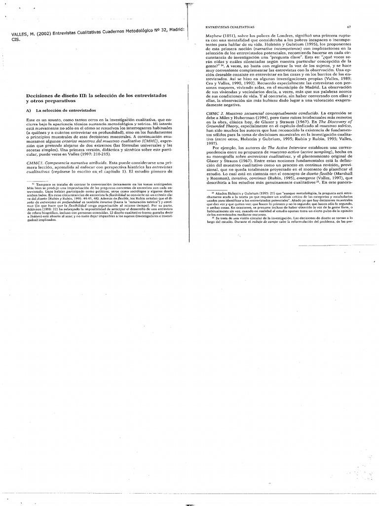 Valles M. Entrevistas Culitativas Cuadernos Met | Muestreo