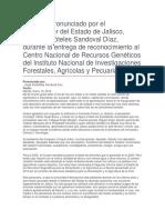 Entrega de Reconocimiento Al Centro Nacional de Recursos Genéticos Del Instituto Nacional de Investigaciones Forestales, Agrícolas y Pecuarias