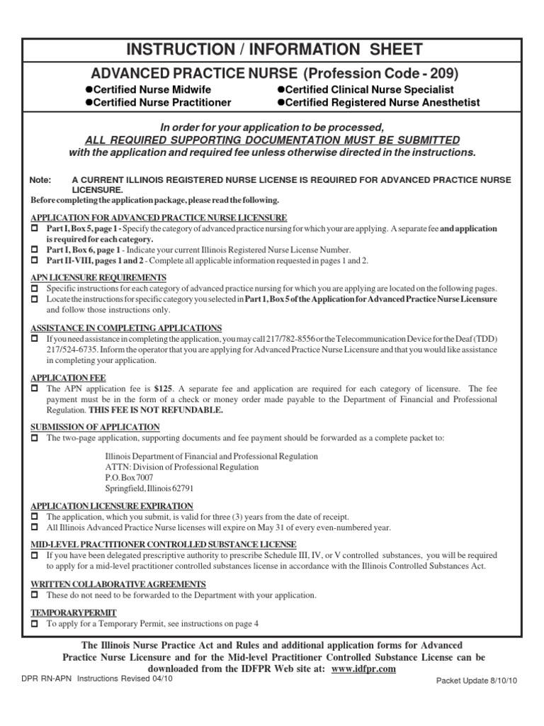 Apn License Illinois Advanced Practice Registered Nurse Medical
