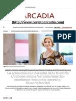 Martha Nussbaum La Economía Necesita de La Filosofía - RevistaArcadia