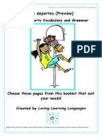 Preview Spanish Sports Vocabulary and Grammar