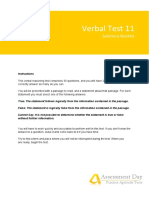 Verbal Test 11 Solutions Booklet Assessment