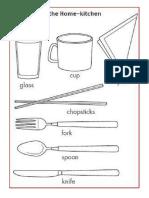 Utencilios de Cocina Para Colorear Ingles