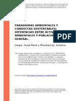 Paradigmas Ambientales y Conductas Sustentables Diferencias Entre Activistas Ambiental_geiger, Sonja Maria y Mozobancyk, Sch (..) (2011)