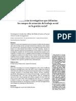 Tendencias investigativas que delimitan los campos de actuación del trabajo social en la gestión social1