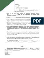 Affidavit of Loss Form - Passport