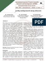 Knowledge regarding smoking hazards among adolescents