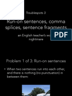 troublespots 3 -  sentence fragments run-ons and comma splices