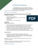 SIDBI Recruitment 2010