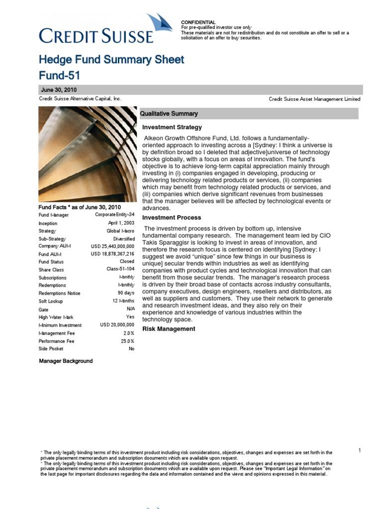 Fund Summary | Hedge Fund | Hedge (Finance)
