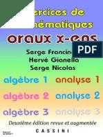Oraux X-EnS Alg Bre 1 2 3 - Analyse 1 2 - Francinou Gianella Nicolas Cassini 2e Ed.