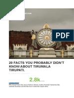 Tirupati Little Known Facts