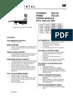 Datos tecnicos grupo generador tipo rental de 500 KVA xq500